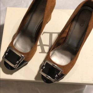 Dark brown faux suede and patent leather heels